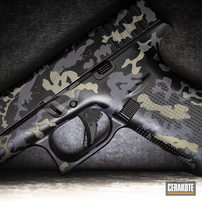 Cerakoted: S.H.O.T,Glock 43X,Midnight Blue H-238,Field Camo ,NORTHERN LIGHTS H-315,GLOCK® GREY H-184,Camo,Pistol,Glock,Subcompact,43x