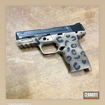 Leopard Print Smith & Wesson M&p Shield Pistol Cerakoted Using Mcmillan® Tan, Chocolate Brown And Graphite Black