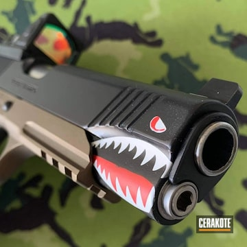Kimber 1911 Pistol Cerakoted Using Stormtrooper White, Usmc Red And Graphite Black