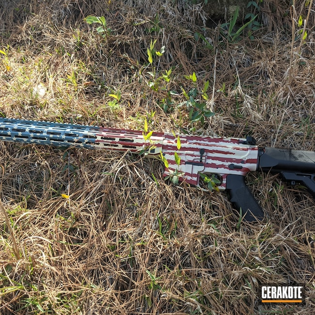 Cerakoted: S.H.O.T,Crimson H-221,America,American Flag,Jesse James Civil Defense Blue H-401,5.56,Custom AR,Light Sand H-142