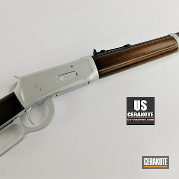 Restored Winchester 94 Lever Action Rifle Cerakoted Using Satin Aluminum And Midnight Blue