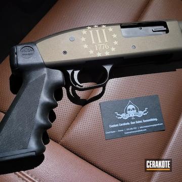 Mossberg 500 Shotgun Cerakoted Using Midnight Bronze, Benelli® Sand And Graphite Black