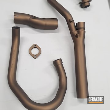 Motorcycle Exhaust Cerakoted Using Burnt Bronze
