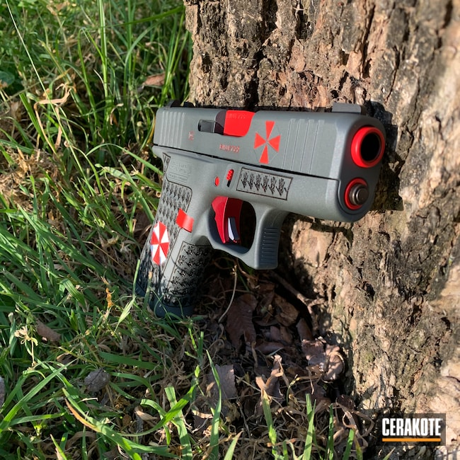 Cerakoted: S.H.O.T,Glock 43X,Resident Evil,Stormtrooper White H-297,USMC Red H-167,Glock,PLATINUM GREY H-337