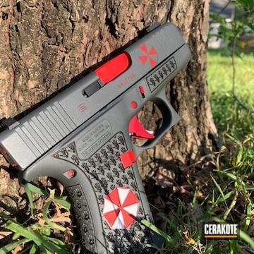 Resident Evil Themed Glock 43x Cerakoted Using Stormtrooper White, Usmc Red And Platinum Grey
