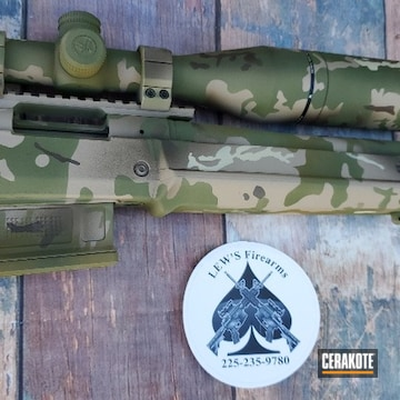 Multicam Bolt Action Rifle Cerakoted Using Patriot Brown, Multicam® Pale Green And Chocolate Brown