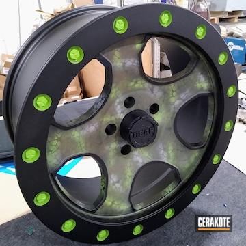 Wheels Cerakoted Using Zombie Green, Battleship Grey And O.d. Green