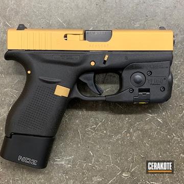 Glock 42 Pistol Cerakoted Using Gold