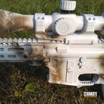 Sage Brush Snow Camo Rifle Cerakoted Using Stormtrooper White, Magpul® O.d. Green And Magpul® Flat Dark Earth