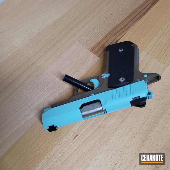 Cerakoted: S.H.O.T,9mm,Micro 9,Robin's Egg Blue H-175,Kimber,Pistol,Flat Dark Earth H-265