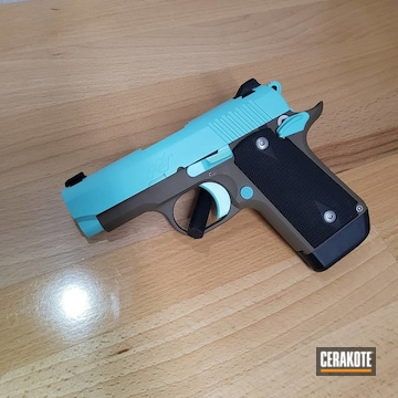 Kimber Micro 9 Pistol Cerakoted Using Robin's Egg Blue And Flat Dark Earth