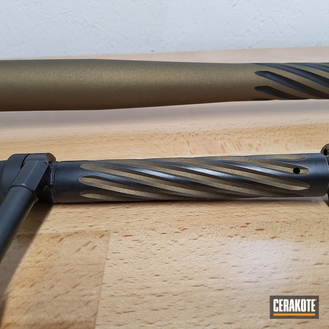 Cerakoted: S.H.O.T,Fluting,Two Tone,Spiral Barrel,Burnt Bronze H-148,Armor Black H-190,Muzzleloader