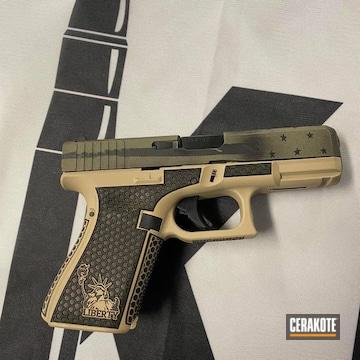 Battleworn Glock 19 Pistol Cerakoted Using Desert Sand, Hazel Green And Graphite Black
