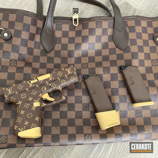 Cerakoted: S.H.O.T,9mm,Coyote Tan H-235,Designer Theme,BARRETT® BROWN H-269,Pistol,Glock,Louis Vuitton,Glock 43