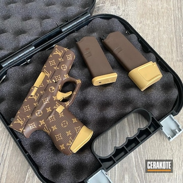 Louis Vuitton Themed Glock 43 Pistol Cerakoted Using Barrett® Brown And Coyote Tan