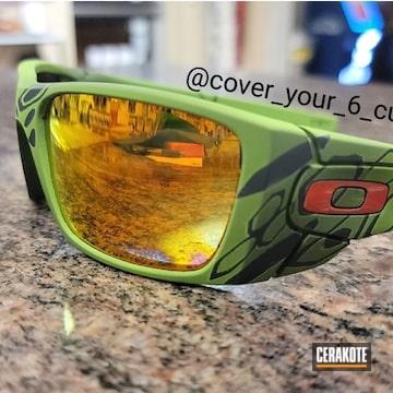 Custom Oakley Sunglasses Cerakoted Using Armor Black, Zombie Green And Multicam® Bright Green