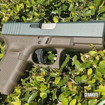 Glock 19 Pistol Cerakoted Using Charcoal Green And Patriot Brown