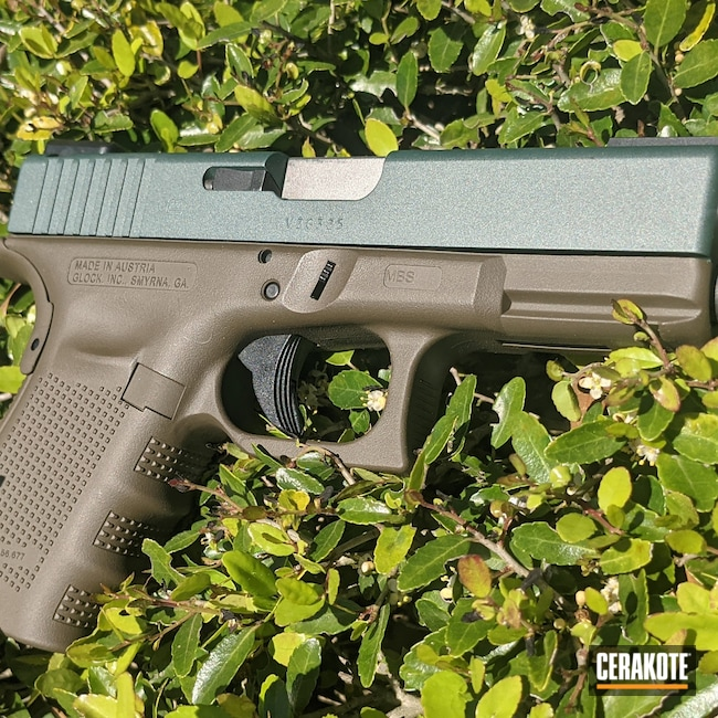 Cerakoted: S.H.O.T,Glock 19,Patriot Brown H-226,Glock,CHARCOAL GREEN H-338