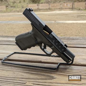 Distressed American Flag Themed Glock 23 Pistol Cerakoted Using Magpul® O.d. Green, Titanium And Gen Ii Graphite Black