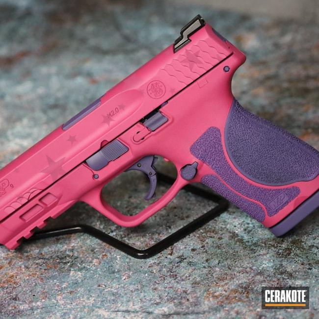 Cerakoted: S.H.O.T,M&P,9mm,M&P9,Bright Purple H-217,Smith & Wesson,SIG™ PINK H-224,Pistol,S&W,Handgun