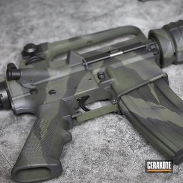 Tiger Stripe Camo Ar Cerakoted Using Sniper Grey, O.d. Green And Graphite Black