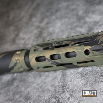 Vietnam Tiger Stripe Camo Ar Build Cerakoted Using Burnt Bronze, O.d. Green And Graphite Black