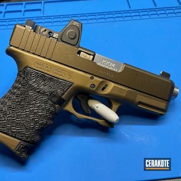 Glock 29 Pistol Cerakoted Using Midnight Bronze, Armor Black And Burnt Bronze