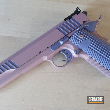 1911 Pistol Cerakoted Using Crushed Orchid And Pink Champagne