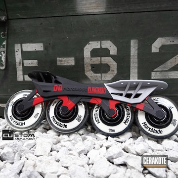 Inline Skates Wheel Frame Cerakoted Using Crushed Silver, Graphite Black And Ruby Red