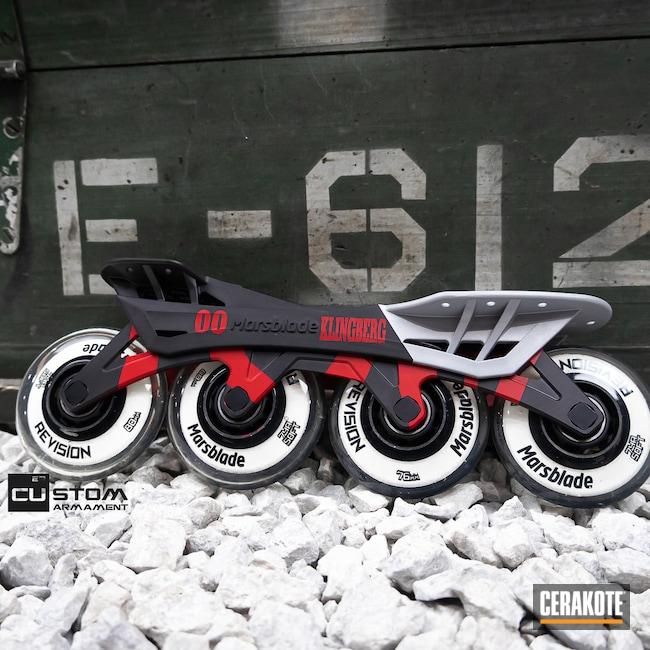 Cerakoted: Graphite Black H-146,RUBY RED H-306,Roller Skates,Crushed Silver H-255