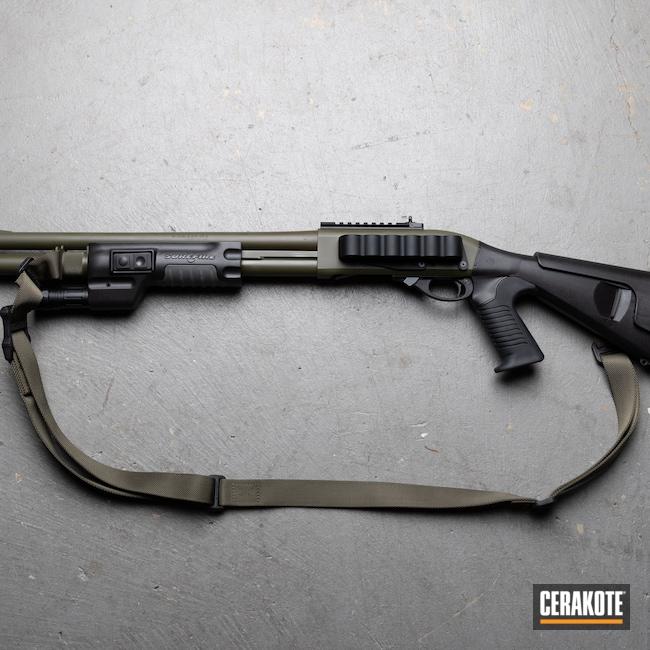Cerakoted: S.H.O.T,Custom Shop,Shotgun,Tactical,Mil Spec O.D. Green H-240,black flag armory,12 Gauge,870,Southern Oregon,Surefire,Remington,Medford