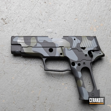 Custom Camo Sig Sauer P226 Pistol Cerakoted Using Armor Black, Sig™ Dark Grey And Sniper Grey