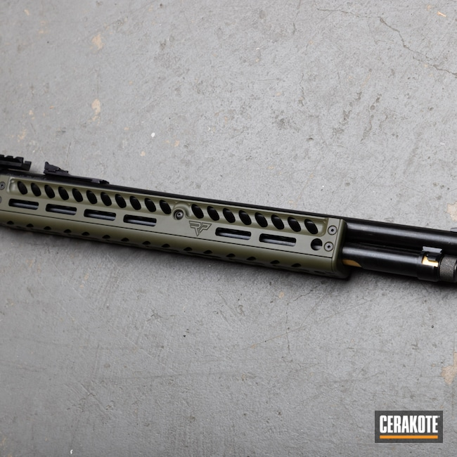 Cerakoted: S.H.O.T,Sniper Green H-229,.45-70,Ranger Point Precision,Handguard,black flag armory,Southern Oregon,Black Flag Custom Shop,Medford