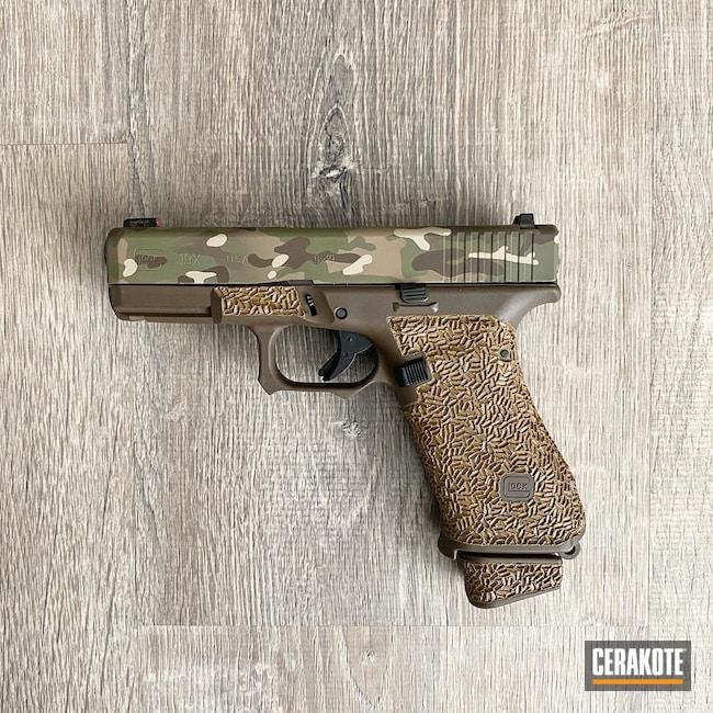 Cerakoted: S.H.O.T,9mm,Multi Color,Coyote Tan H-235,MultiCam,Peanut Butter,Stippled,Pistol,Glock,MULTICAM® PALE GREEN H-339,Chocolate Brown H-258,Glock 19X