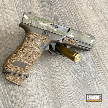 Multicam Glock 19x Pistol Cerakoted Using Multicam® Pale Green, Chocolate Brown And Coyote Tan