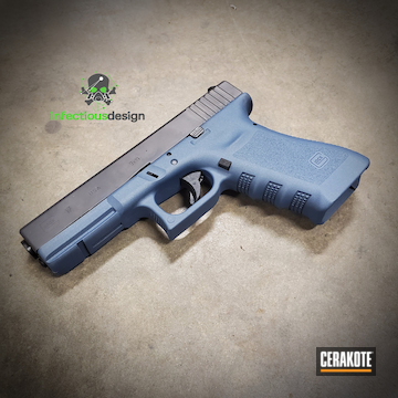 Glock 17 Pistol Cerakoted Using Blue Titanium