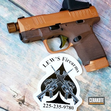 Wood Grain Pattern Themed Springfield Hellcat Pistol Cerakoted Using Federal Brown And Copper