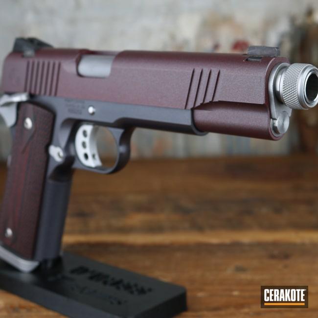 Cerakoted: S.H.O.T,RUBY RED H-306,Firearm,Roberts Defense,Custom 1911,Pistol,1911,CARBON GREY E-240,45 ACP