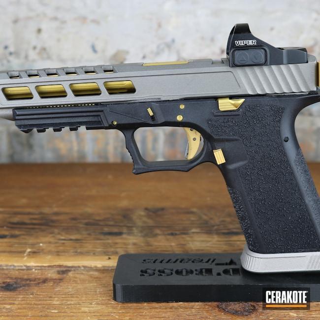 Cerakoted: S.H.O.T,Firearm,Titanium H-170,Pistol,Gold H-122