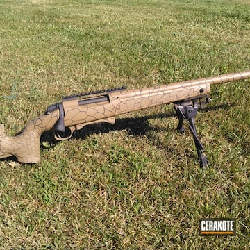 Bergara Bolt Action Rifle Cerakoted Using Coyote Tan And Cobalt