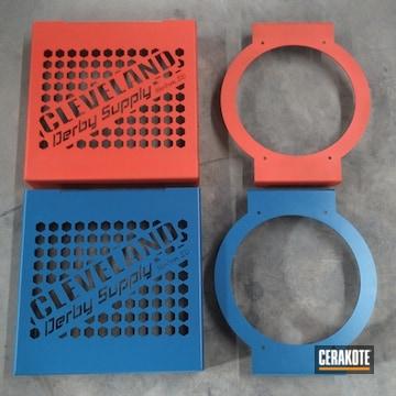 Custom Transmission Cooler Brackets Cerakoted Using Hi-vis Orange And Nra Blue