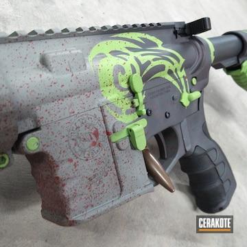 Custom Ar Build Cerakoted Using Smoke, Zombie Green And Sniper Grey