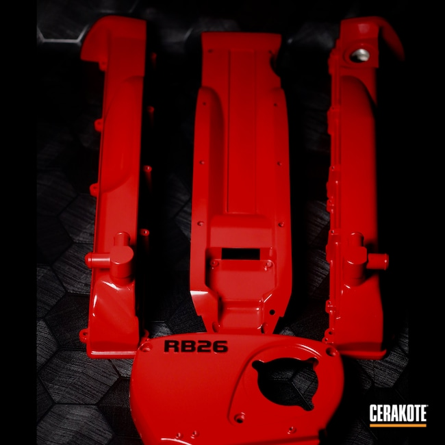 Cerakoted: GTR,Nissan,JDM,Gloss,Classic,RUBY RED H-306,Valve Covers,Automotive,Godzilla,Red