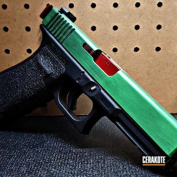 Glock 20 Pistol Slide Cerakoted Using Usmc Red, Parakeet Green And Graphite Black