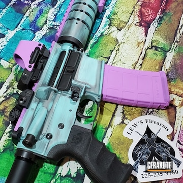 Ar Cerakoted Using Tactical Grey, Purplexed And Robin's Egg Blue