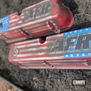 American Flag Themed Ford Mustang Valve Covers Cerakoted Using Armor Black, Frost And Usmc Red