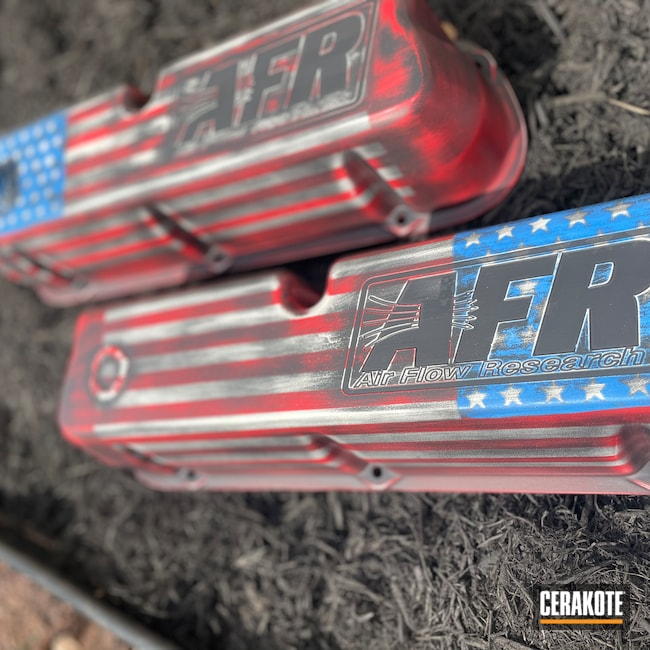 Cerakoted: S.H.O.T,Ford,NRA Blue H-171,FROST H-312,USMC Red H-167,Armor Black H-190,Valve Covers,Automotive,Mustang
