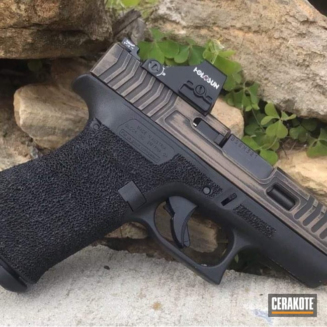 Cerakoted: S.H.O.T,Glock 43X,Battleworn,Armor Black H-190,Glock,Flat Dark Earth H-265,Glock 43