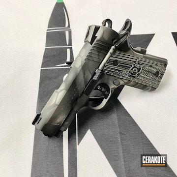 Kryptek Camo Colt 1911 Pistol Cerakoted Using Tactical Grey, Sniper Grey And Graphite Black