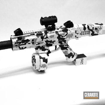 Snow Camo Cz Pistol Cerakoted Using Multicam® Dark Grey, Stormtrooper White And Graphite Black
